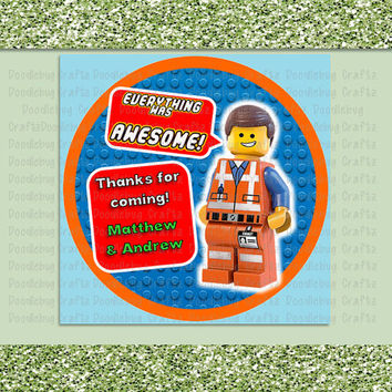 "PRINTABLE - 3.5"" Circle Tag - LEGO Movie - Legoland - Personalized Custom Birthday Party Thank You Tag"