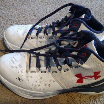 LMFON UA Under Armour Basketball Shoes Stephen Curry Two 2 Red White Navy Blue youth 7