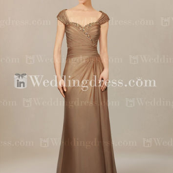 Long Mother of Bride Dress with Cap Sleeves MO194
