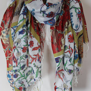 Ottoman Print Shawl, Floral Scarf, Ottoman Tile Print Scarf, Cintemani, Carnation, Tile Print Cotton Shawls, Traditional Turkish Shawl Scarf