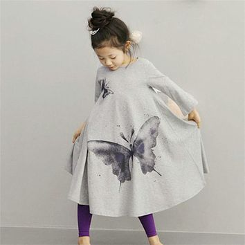 Baby Girl Autumn Dress Loose Asymmetric Long Sleeve Children's clothing Girl Dress For Kids Casual Butterfly printing dresses