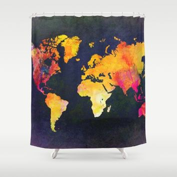 World map 8 Shower Curtain by jbjart
