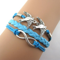 Mint blue bird happiness  infinity  boyfriend girlfriend gifts bracelet,A22