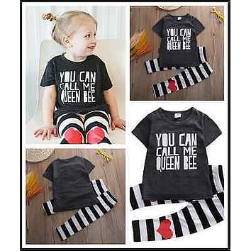 Girls Summer Casual Clothes Set Children Short Sleeve Letter T-shirt + Love Heart Pants Suits Girl Clothing Sets for Kids