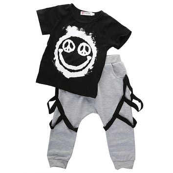 2PC Baby Boys Outfit Toddler Infant Boy Kids Casual Outfits Top Clothes + Harem Pants Summer