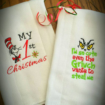BURP CLOTHS BaBy GRINCH or Cat in the Hat Your CHOiCE!  Adorable UNiSEX BaBY Nursery GrinchMas Shower GiFT! BoutiQue Designs by Sugarbear