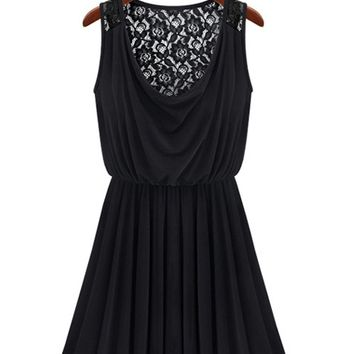 Black Lace Sleeveless Pleated  Stretch Dress