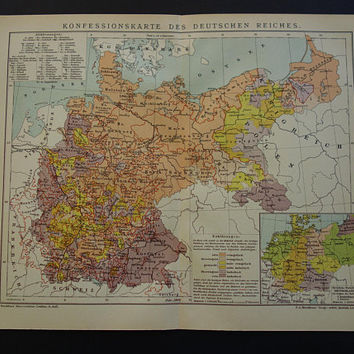 GERMANY antique map set about religion and population density Original vintage 1905 maps about Religious Germany two 2 matching old maps