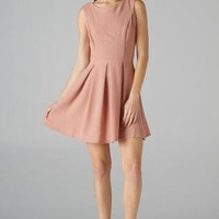 Rose Pink Sleeveless Fit and Flare Dress with Pleat Detail