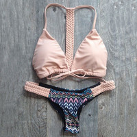 Retro Knitted Hollow Out Bikini Set Swimsuit