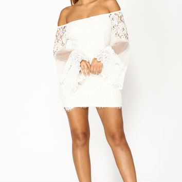 Lace In Love Mini Dress - Off White