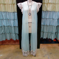 1960s Pale Green Seafoam Sheer Floor Length Peignoir Robe with Cream Lace