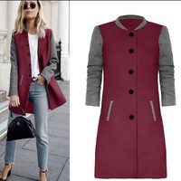Red Hit Color Stitching Woolen Long Coat