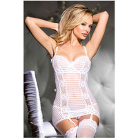 Exclusive Range of Women's Lingerie White Bridal Western Girls Sexy Erotic Outfits Burn-Out Stripe Stretch Mesh Chemise L2525-1