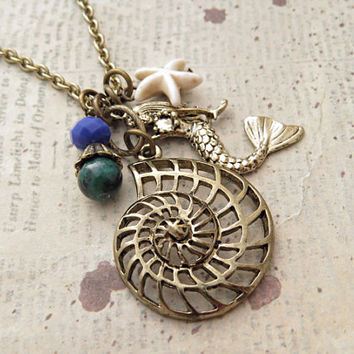 Mermaid and Shell Charm Necklace