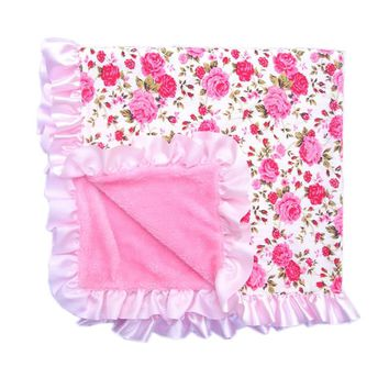 Spring Autumn Bedding Newborn Cotton And Velvet Baby Mermaid Swaddle Envelopes Stroller Wrap For Baby Comfortable Flower Blanket
