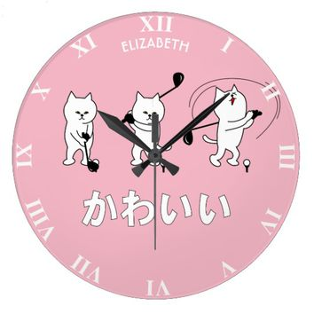 Cute Kitty Playing Golf Kawaii Word In Japanese Large Clock