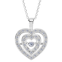 14k White Gold Double Heart Shaped Dancing Diamonds 18 Inch Necklace - 0.12ct. Diamond