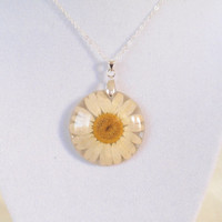 Pressed flower resin necklace  - Pressed Flower Jewelry, Botanical Jewelry, Pendant Charm, Reiki  charged