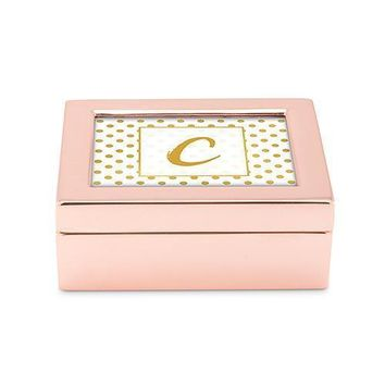 Small Modern Personalized Jewelry Box - Polka Dot Print Rose Gold Gold (Pack of 1)