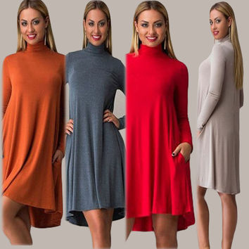 Turtleneck Long Sleeve Casual Dress
