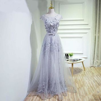 Sheer cap sleeves tulle dress applique lace floor length long evening gowns