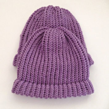 adult child beanie set, beanie, hats, knit beanie hats, knit adult beanies, knitted chunky beanie, purple toques, kids beanies, winter hats
