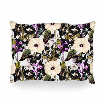 "mmartabc ""Abstract Blooming Botanic"" Purple Multicolor Floral Nature Illustration Watercolor Oblong Pillow"