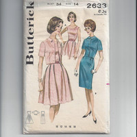Butterick 2633 Pattern for Misses' Dress and Jacket, Size 14, Circa Early 1960s