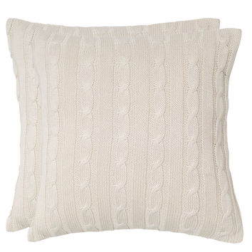 Rizzy Home Cable Knit Wooden Button Closure Pillow