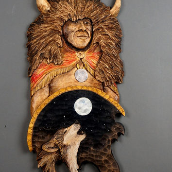 American Indian,Warrior,Wolf and Moon Carved on Wood Wood Carving  Hand Made Gift Wall Hanging for the Indiens and Wolves lovers by Davydov