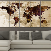 Dark Brown and Purple Retro WORLD MAP Canvas Print Sephia Art Drawing on Old Wall - World Map 5 Piece Canvas Art Print -  Brown World Map