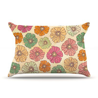 "Heidi Jennings ""Vintage Petals"" Tan Pink Pillow Case"