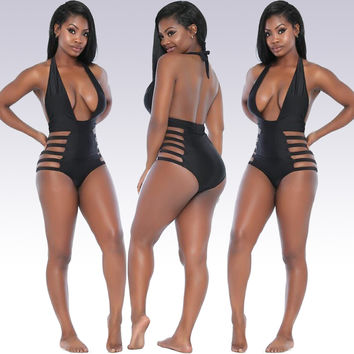 Black Strappy Cutout High Waist Halter Swimsuit