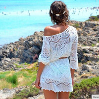 Autumn Sexy Lace Hollow Out Long Sleeve Blouse Beach Waistband One Piece Dress [4919456068]