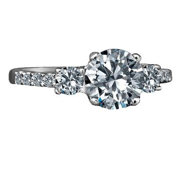1.5 Ct Round Center (4mm Sides) Simulated Diamond-diamond Veneer® Three (3) Stones Ring.  635r71902
