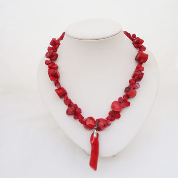 Red Coral Necklace with Pendant, Chunky Red Coral Necklace, African Coral Necklace, Boho Style Coral Necklace