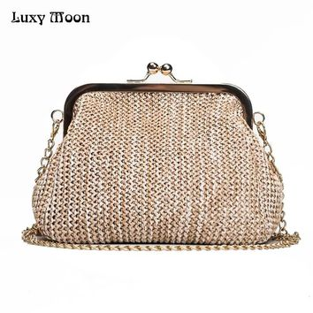Luxy Moon Handmade Straw Clutch Tote Vintage Women Evening Bag Party Purse Wallet Beach Handbag Chain Lady Messenger Bag  ZD784