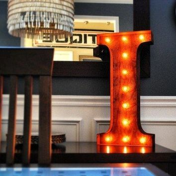 """24"""" Letter I Lighted Vintage Marquee Letters (Rustic)"""