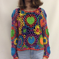 90s Crochet EDM Music Festival Colorful Rainbow Top