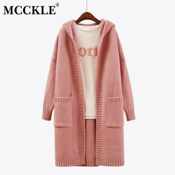 MCCKLE 2018 Autumn Winter Women Hooded Long Knitted Cardigan Solid Color Casual Loose Swearter Coat Female Warm Sweater Cardigan