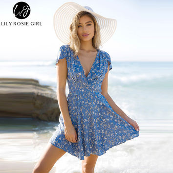 Lily Rosie Girl Blue Floral Print Summer Beach Dress Boho Style Deep V Neck Short Sleeve Sexy Party Mini Wrap Dresses Vestidos