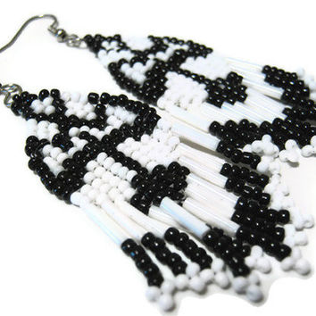 Hand Beaded Seed Bead Thunderbird Earrings in Black and White