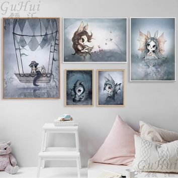 Scandinavian Balloon Rabbit Boy and Girls Cartoon Angel Canvas Decoration Painting Art Poster Kids Baby Nursery Room Wall Murals