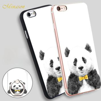 Minason Mr panda Mobile Phone Shell Soft TPU Silicone Case Cover for iPhone X 8 5 SE 5S 6 6S 7 Plus