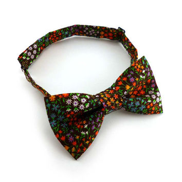 Brown floral bow tie mens – pre tied adjustable – multi color cotton – rustic wedding groomsmen bowties for men