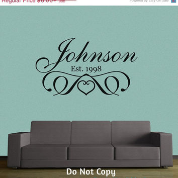 Holiday Sale: Personalized Vinyl Wall Decal Monogram Custom Name Wall Words Family Name Stylish Art Deco Marriage Wedding Family Crest