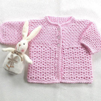 0 to 3 months cotton infant cardigan, Newborn pink crochet jacket, Baby shower gift