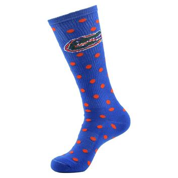 Florida Gators Polka-Dot 1/2-Cushion Socks - Women, Size: 9-11 (Blue)