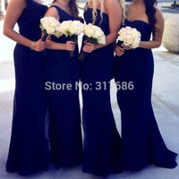 2016 Navy Blue Pleats Bridesmaid Dresses Chiffon Floor Length One Strap One Shoudler Long Wedding Party Gown Dresses
